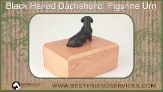 Black Dachshund Figurine Urn