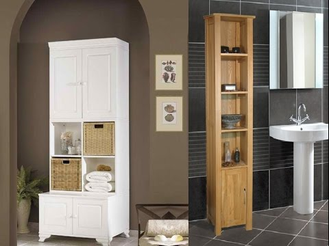 inspiring tall bathroom storage cabinets - youtube
