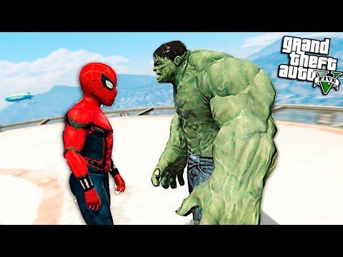 ЧЕЛОВЕК ПАУК ПРОТИВ ХАЛКА - GTA 5 МОДЫ - (spider-man Vs Hulk)
