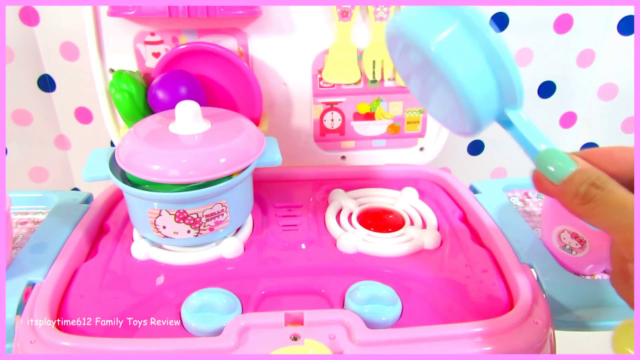 Hello Kitty Toy Food : Hello kitty mobile kitchen with velcro cutting foods