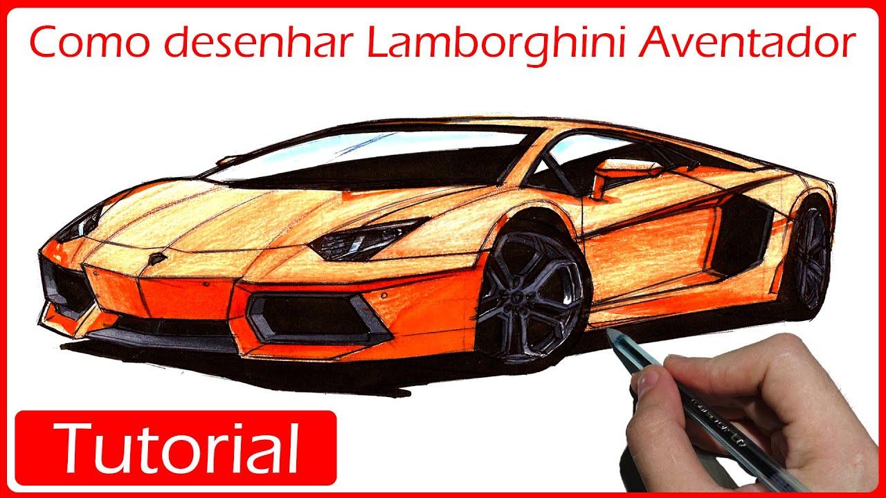 Como Desenhar Carros Lamborghini Aventador Youtube