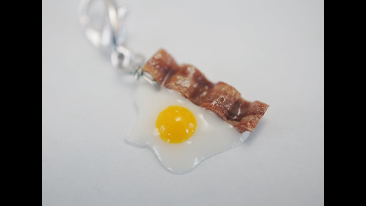charm size egg and bacon tutorial polymer clay food