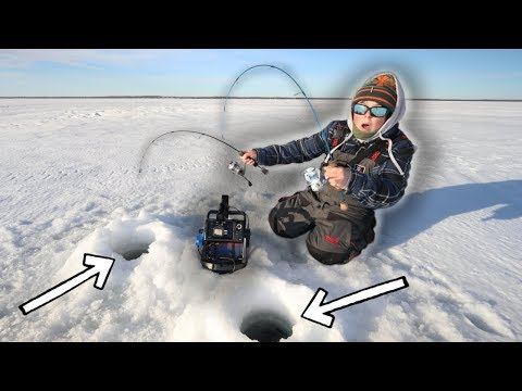 Ice Fishing TWO Rods At ONE Time! (Walleye Fishing)