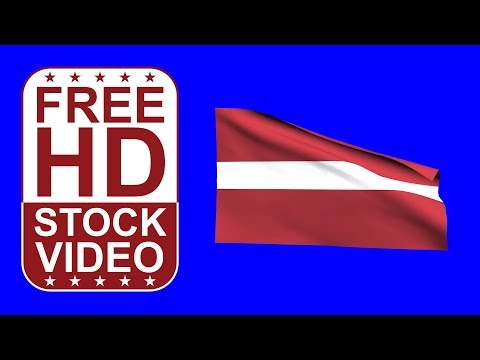 FREE HD video backgrounds – Latvia flag waving on blue screen 3D animation