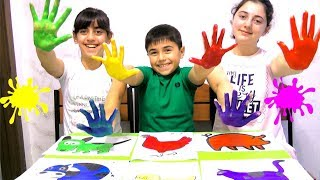 Learn Farm Animals Names with Body Paint Finger Color Song and More Nursery Song By Guka Family Show