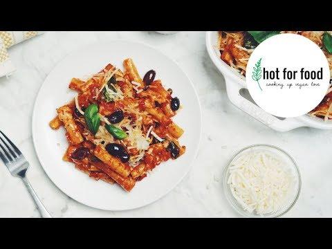 VEGAN BAKED PUTTANESCA ZITI | Hot For Food