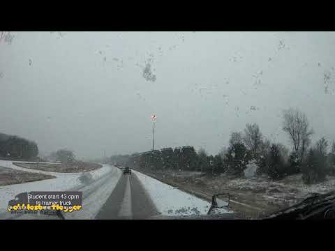 Dash thru the snow in the big rig student driving video blizzard type snow south of Chicago