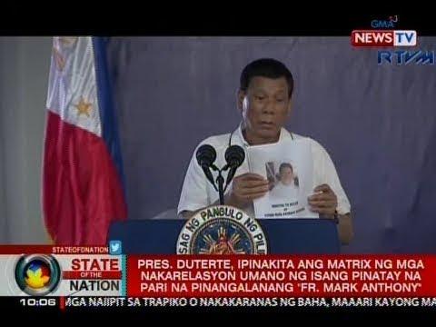 Pres. Duterte, ipinakita ang matrix ng mga nakarelasyon umano ng isang pinatay na pari