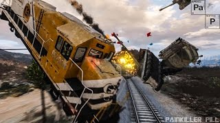 Gta v - train derailment epic crash tests high speed