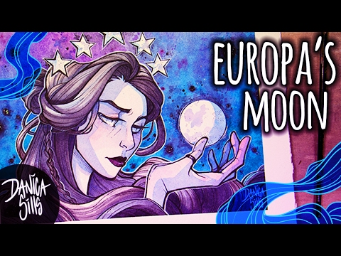 Europa's Moon ♦ Watercolor Speedpainting ♦ Space Art