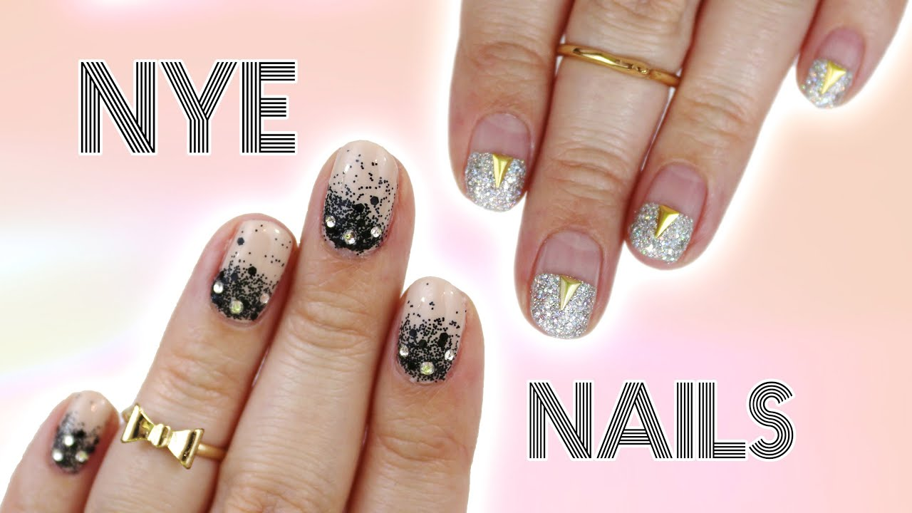 New years eve nails 2 easy designs for short nails youtube prinsesfo Image collections
