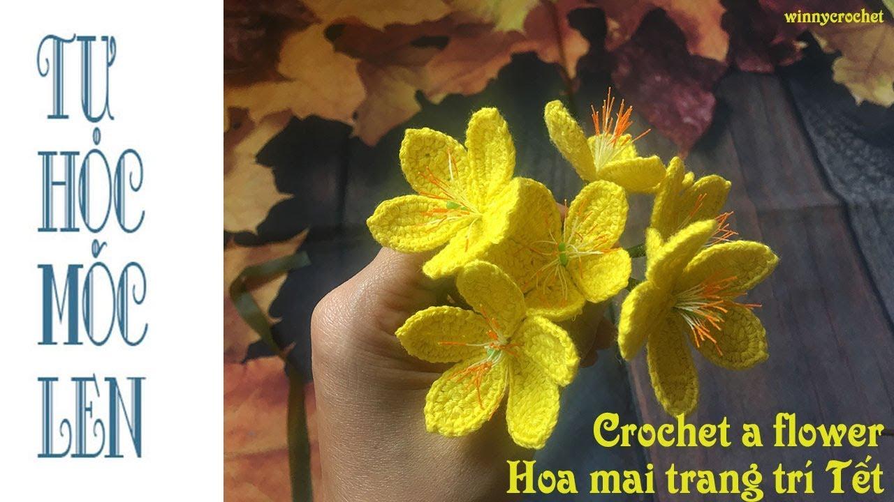 Móc hoa mai trang trí Tết – Crochet a flower