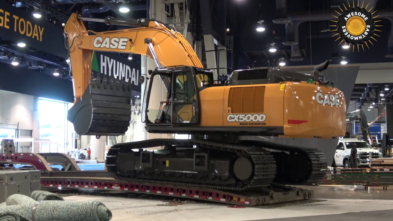 Case CX500D excavator moving out of Conexpo 2017 - YouTube
