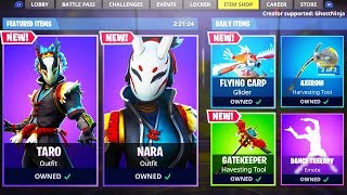 NEW ITEM SHOP SKINS! Fortnite TARO & NARA SKINS Gameplay! (Fortnite Live)