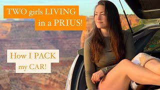 Two Girls LIVING in One Prius!  How I Pack My Car!
