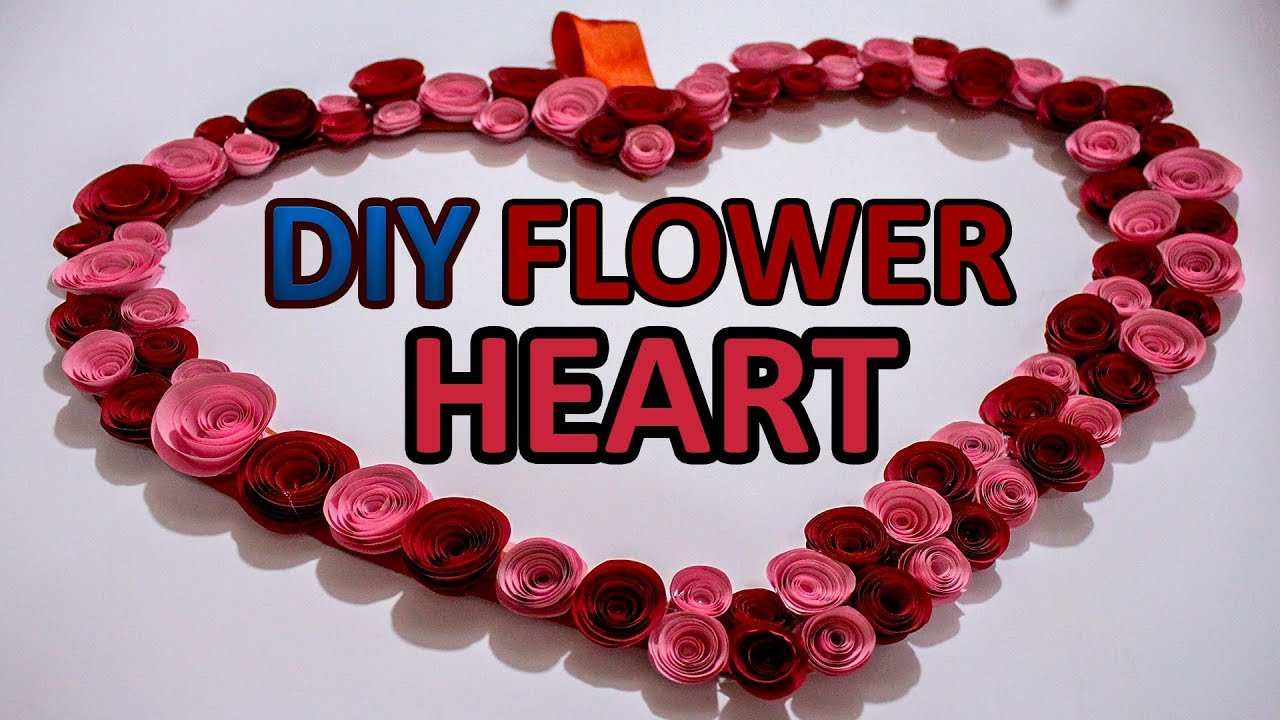 DIY Wall hanging decoration piece/How to make flower heart /DIY Craft Queen