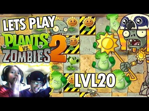 Dad & Kids play Plants vs. Zombies 2: Ancient Egypt Level 20: Endangered Plants (iOS Face Cam)