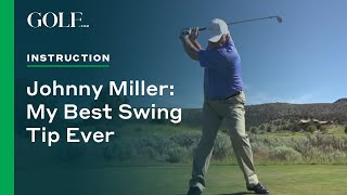 Return your left shoulder to its starting position for shots that never leave the flag, as demonstrated by Golf Magazine contributor Johnny Miller.
