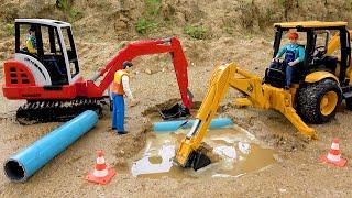 JCB Backhoe Loader & Excavator Car Toys Fountain Pipe Repair