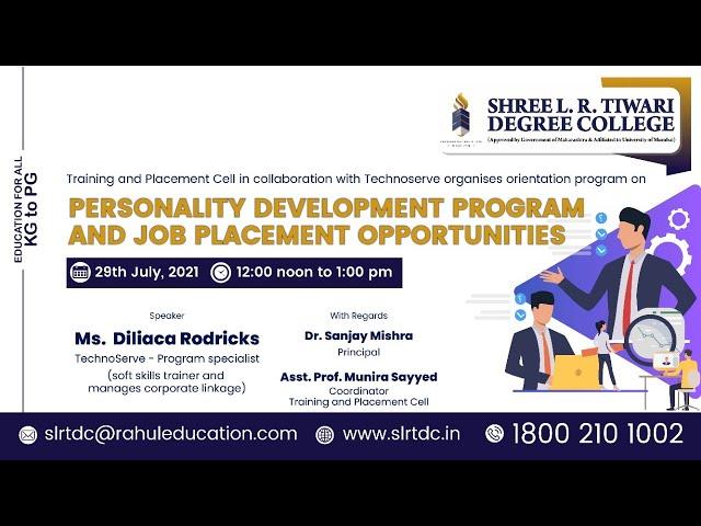 SLRTDC - PERSONALITY DEVELOPMENT PROGRAM AND JOB PLACEMENT