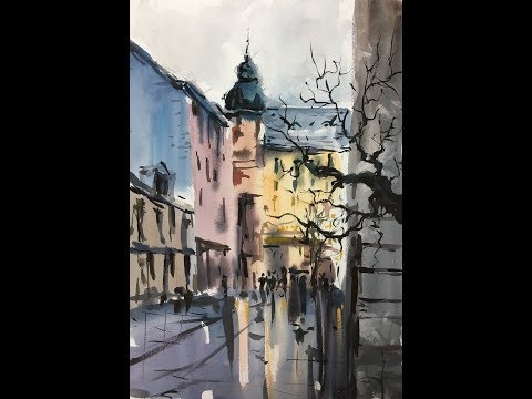 Street Watercolor painting Mix Colors 2x speed demonstration Gade Akvarel maleri Mix farver