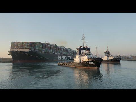 Suez Canal crews partially refloat cargo ship