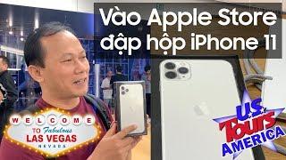 Vào Apple Store ở Las Vegas mua iPhone 11 Pro Max 512GB dùng, đập hộp 2 màu bạc và xanh nửa đêm