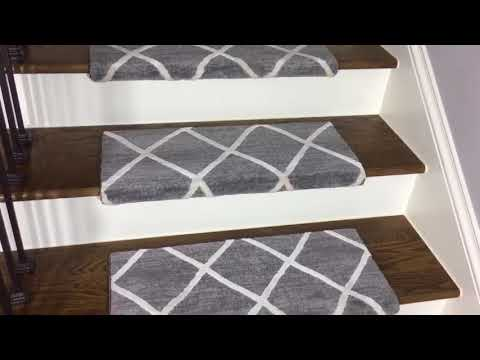 Dean Pet Friendly Theo Ivory Gray Bullnose Carpet Stair Treads
