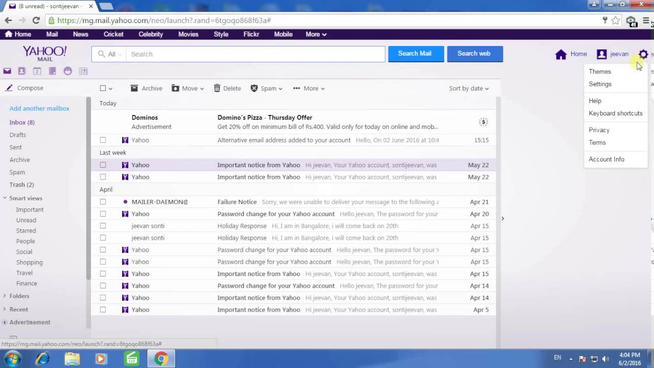 Is the a way to block email address on yahoo