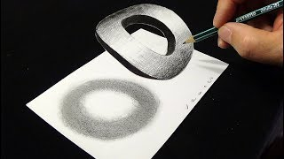 Drawing 3D Letter O - How to Draw 3D Letter O - By Vamos