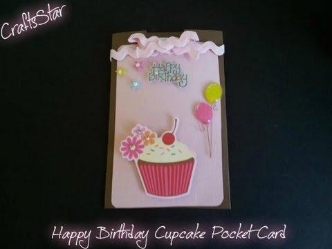 Tarjeta de cumplea os cupcake pocket card youtube - Como hacer tarjetas de cumpleanos ...