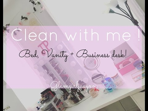 Cleaning with me: Bed, Vanity & Business Desk | Update on desk decor |