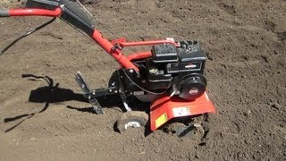 Cold Start 5HP Briggs and Stratton MTD Garden Tiller -- Tilling the Garden -  April 13, 2013