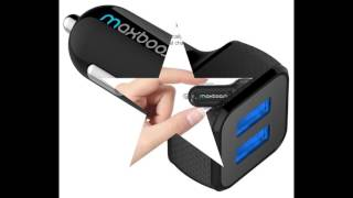 Car Charger, Maxboost 4.8A/24W 2 Smart Port Car Charger [Black]