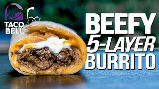 TACO BELL'S BEEFY 5 LAYER BURRITO....BUT HOMEMADE & WAY BETTER!    SAM THE COOKING GUY 4K