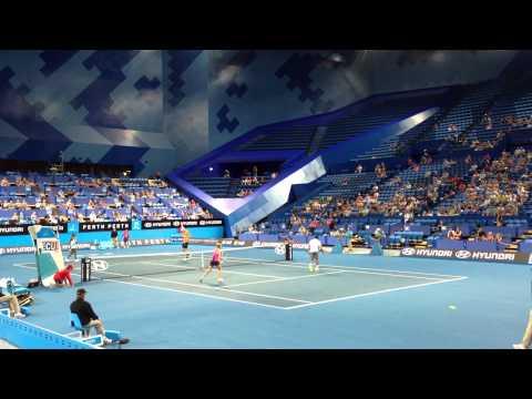 V.WILLIAMS - ISNER vs. JOHANSSON - TSONGA mixed doubles at the Hopman Cup 2013