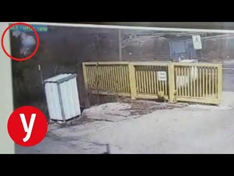 תיעוד הסרטון ממצלמות האבטחה ליד שער קיבוץ יראון, בו נראה הפיצוץ ואחר כך הרכב ממשיך בנסיעה