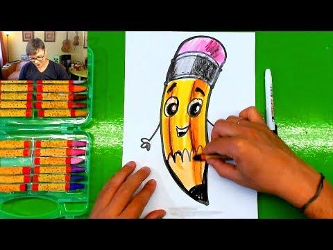 Рисуем КАРАНДАШ - урок рисования в школу от РыбаКит