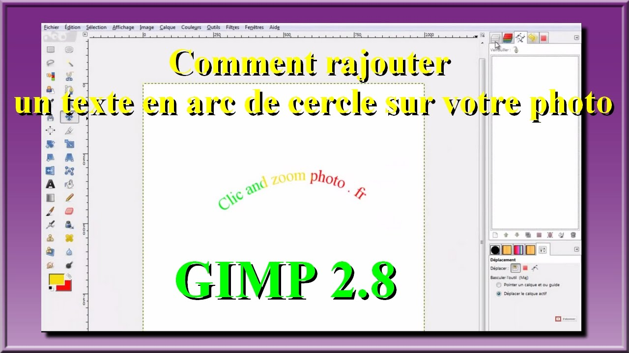 gimp 2 8 comment rajouter un texte en arc de cercle sur votre photo facilement youtube. Black Bedroom Furniture Sets. Home Design Ideas