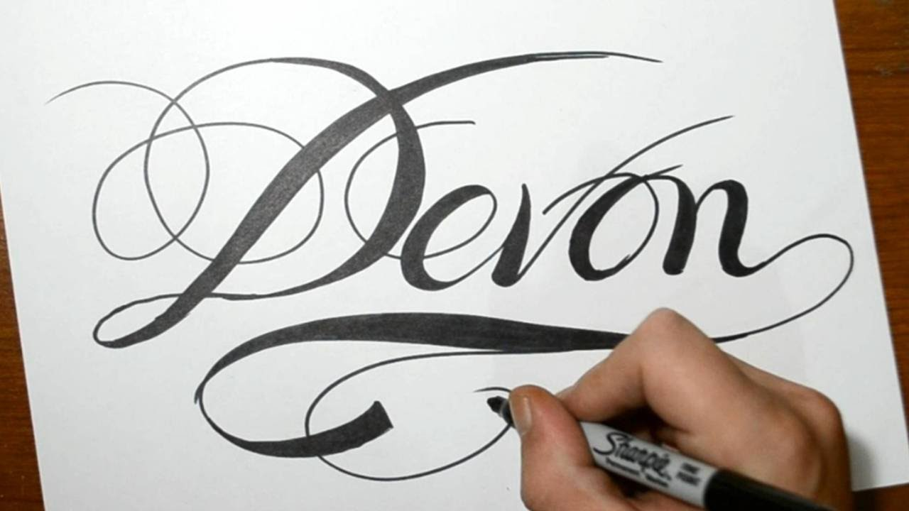 Sketching The Name Devon In Cool Calligraphy Script