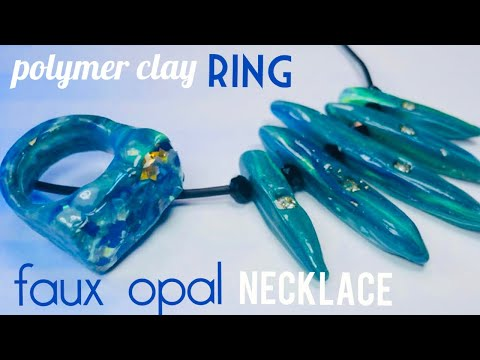 Magic Faux Opal Ring and Necklace made from Clay and Resin. Tutorial