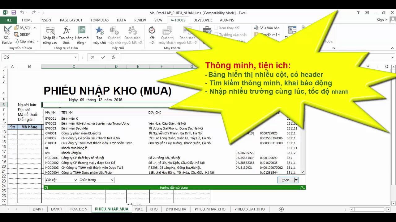 Tạo phiếu nhập, phiếu xuất trên Excel tự động tra cứu hàng