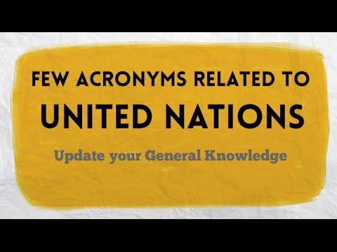UN Agencies Abbreviations | Few UN Acronyms