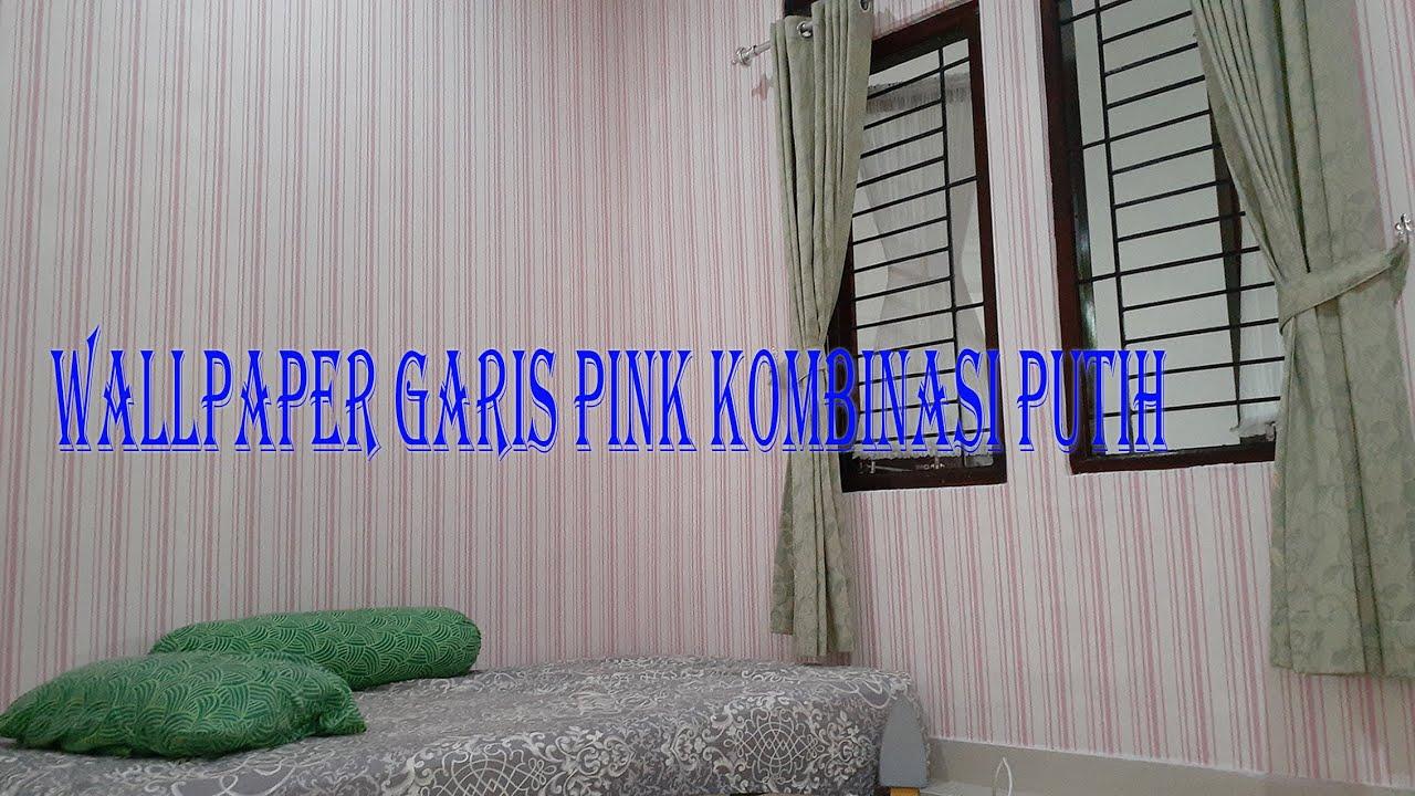 WALLPAPER Motif Garis Pink Kombinasi Putih, Pemasangan ...