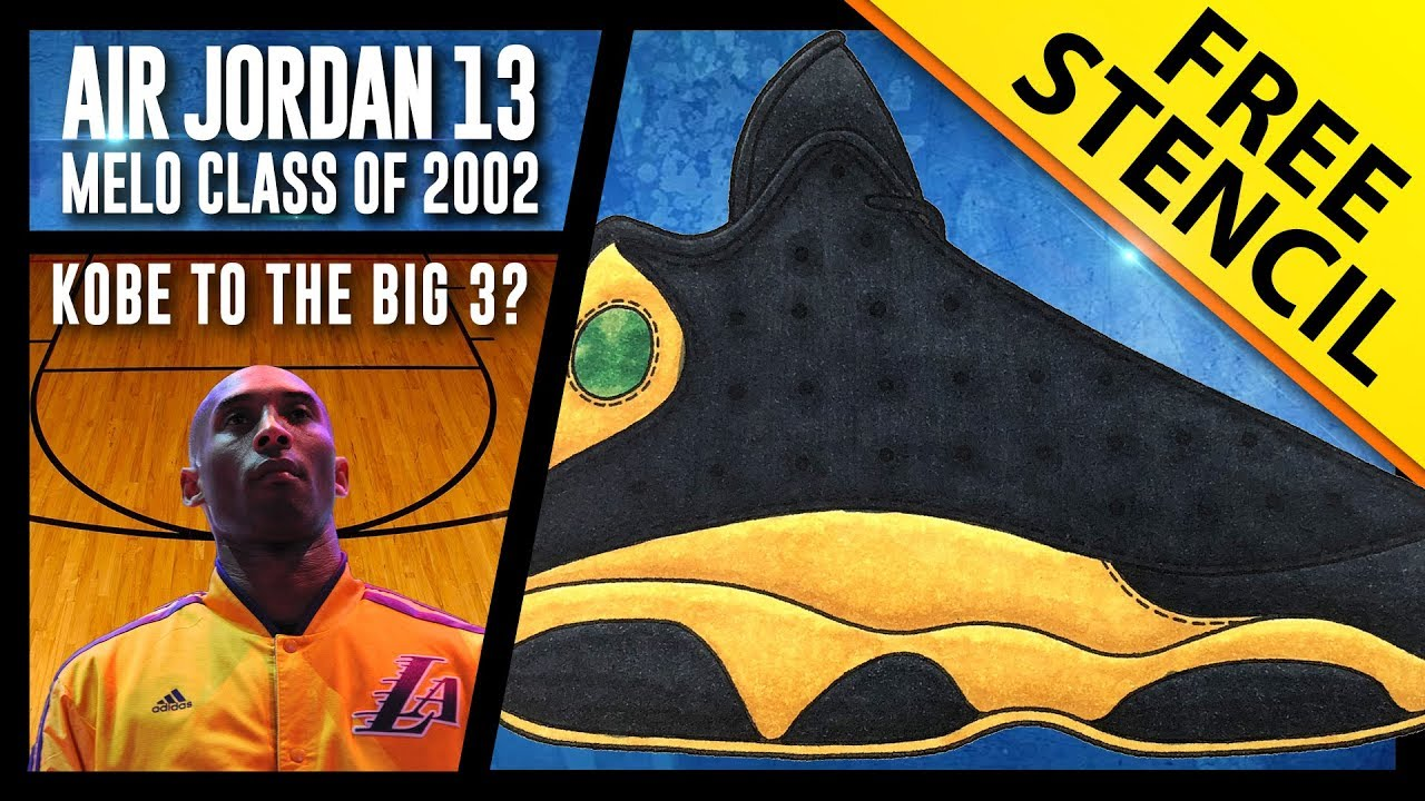 new products 2dec3 af19e Air Jordan 13 Carmelo Class of 2002 - Sneaker Drawing w  Free Stencil