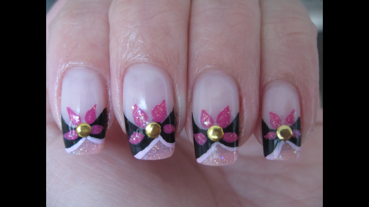 Nail art: Abstract flower design - YouTube
