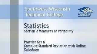 "College Math-Statistics Chapter P.S. 6, ""Standard Deviation with Online Calculator""."