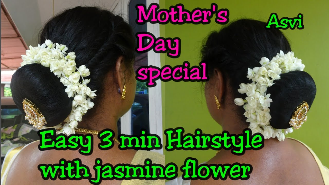 easy 3 min hairstyle with jasmine flower|hairstyle for thin&short hair|hairbun with donut|asvi