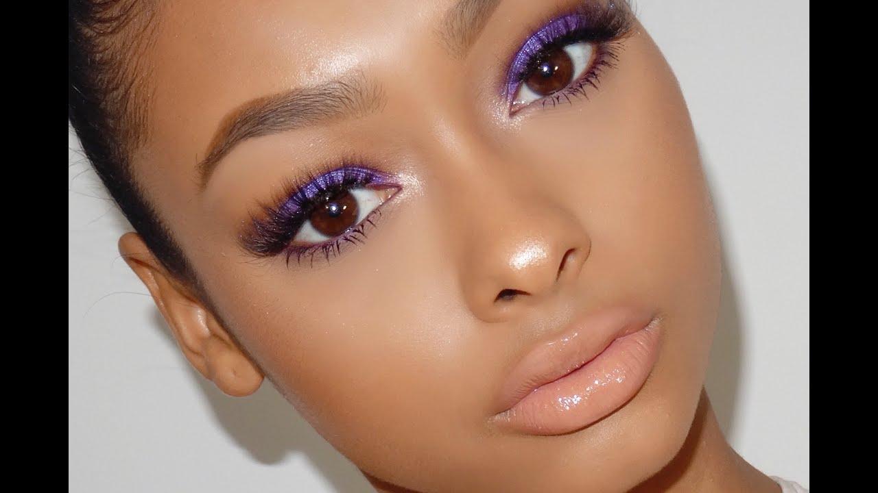 Dramatic purple makeup look | JaydePierce - YouTube