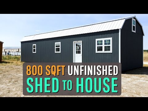 tour of our UNFINISHED Woodtex SHED TO HOUSE conversion